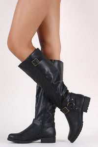 Bamboo Buckled Harness Strap Riding Knee High Boots