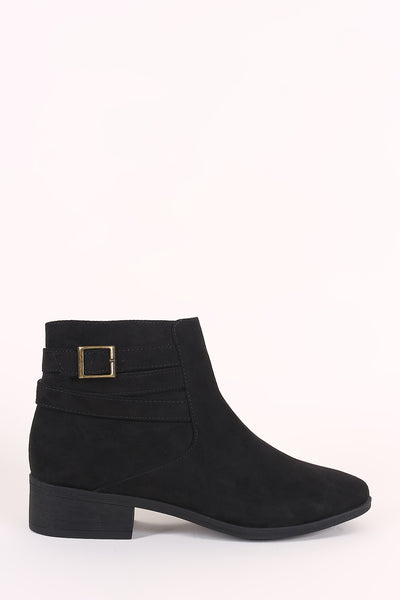 Bamboo Suede Strappy Buckle Ankle Boots