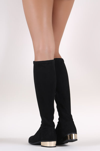 Bamboo Suede Almond Toe Metallic Block Heeled Knee High Boots