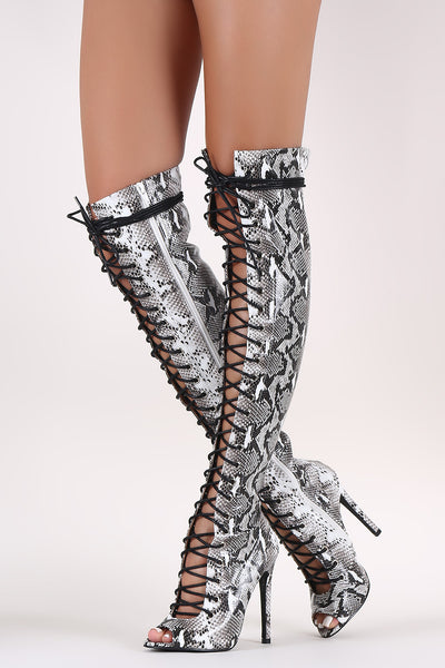 Python Peep Toe Lace Up Stiletto Over-The-Knee Boots