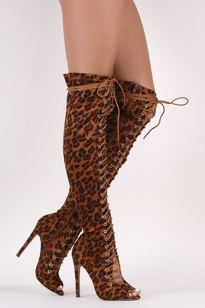 Sexy Leopard Over-The-Knee Boots For Women By LUD | Shop Women's Fashion Striking Over The Knee Boots Leopard Suede Peep Toe Lace Up Stiletto Over-The-Knee Boots