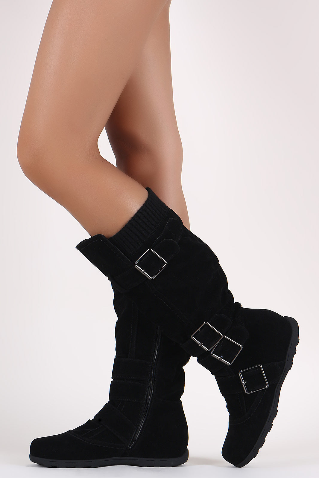 Suede Rib Knit Trim Buckled Mid Calf Flat Boots