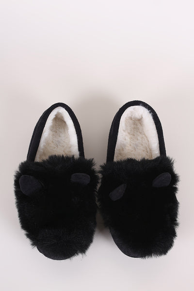 Suede Faux Fur Animal Ear Slip-On Moccasin Flat