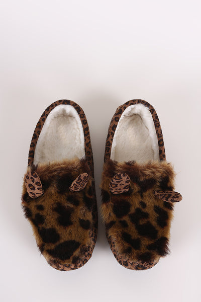 Leopard Faux Fur Animal Ear Slip-On Moccasin Flat