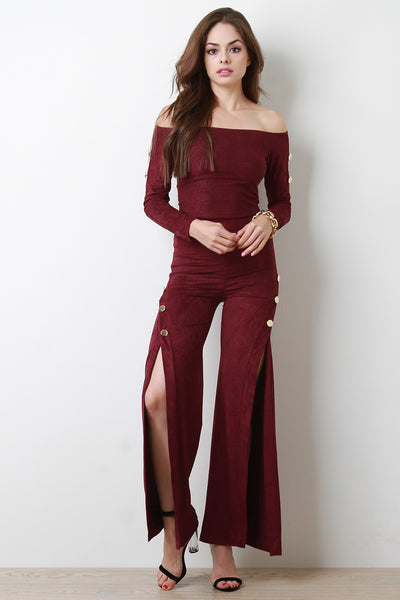 Long Sleeve Button Crop Top High Waisted Pants With Slit Set By Button Accent | Button Accent Crop Top With High Waist Slit Pants Set
