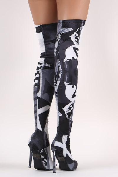 Stretched Graphic Print Pointy Toe Stiletto Over-The-Knee Boots