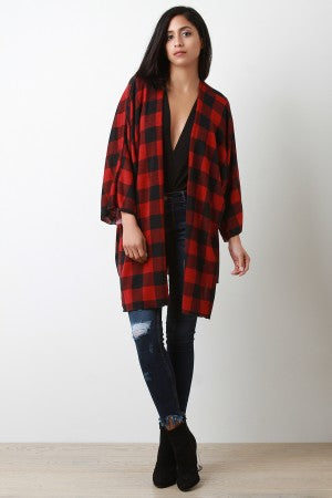 Checkered Open Front Dolman Oversized Cardigan