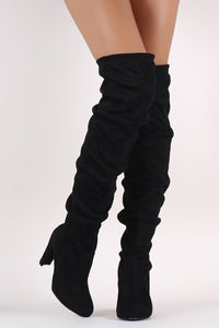 Wild Diva Lounge Suede Slouchy Chunky Heeled OTK Boots