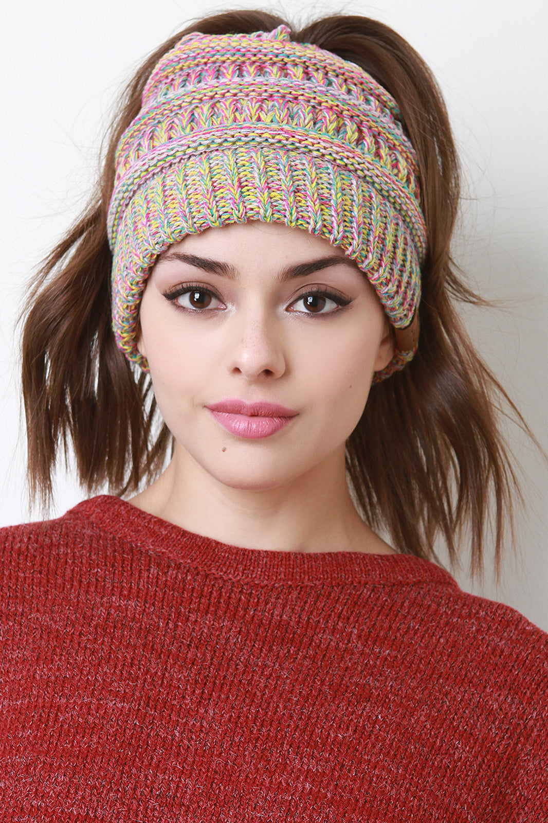 Multi Color Ponytail Beanie