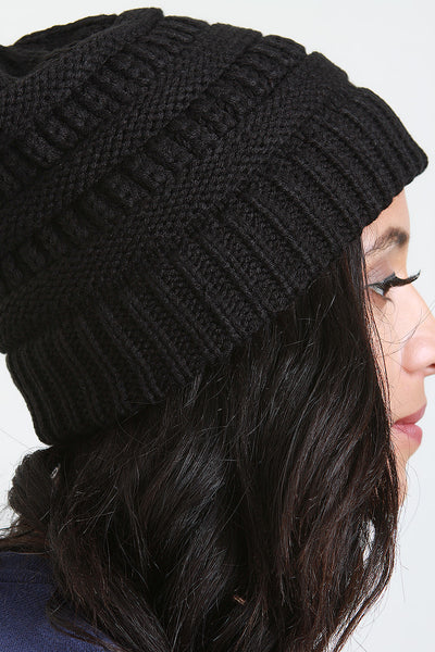 Ribbed Knit Ponytail Beanie