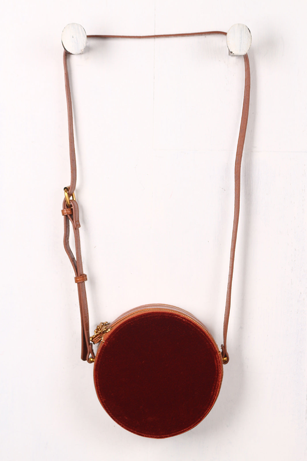 Embossed Croco And Velvet Circle Crossbody Canteen Bag