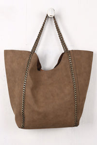Slouchy Woven Chain Accent Tote