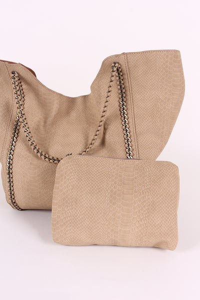 Snake Embossed Woven Chain Trim Tote