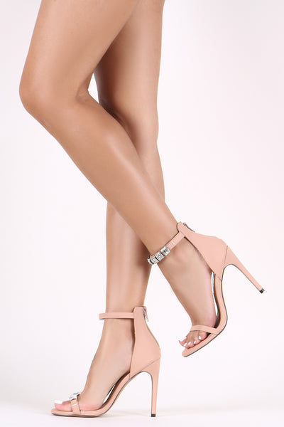 Mismatched Heel For Women By Liliana | Shop Women's Fashion Stylish Nubuck Mismatched Rhinestone-Embellished Straps Open Toe Silhouette Wrapped Stiletto Heel