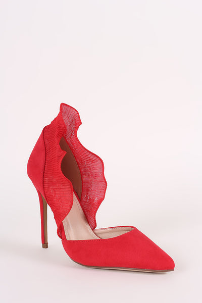 Ruffled Stiletto Pump For Women By Liliana | Shop Women's Fashion lovely Suede Pointy Toe Silhouette Scooped vamp Ruffled Stiletto Pump slim stiletto heel