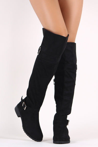 Suede Buckled Over-The-Knee Riding Boots