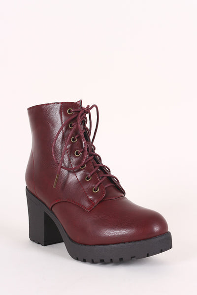 Combat Lace Up Lug Sole Platform Chunky Heeled Booties