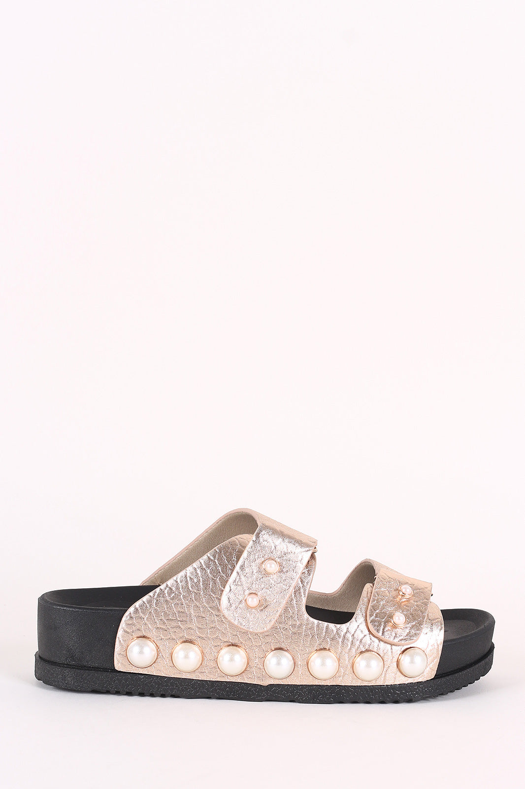 Bamboo Crinkled Faux Pearl Double Band Slide Sandal
