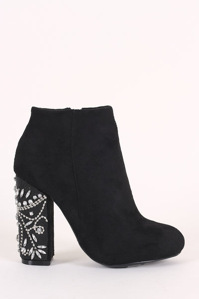 Bamboo Suede Rhinestone Chunky Heeled Ankle Boots