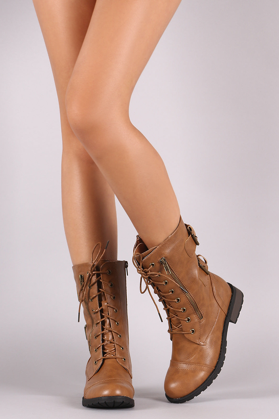 Buckle And Zipper Trim Lace-Up Combat Mid-Calf Boots