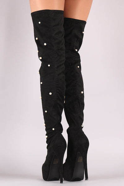 Platform Thigh High Boots For Women By LUD | Shop Women's Fashion Lovely Stylish Fashionable Suede Pearl Embellished Pointy Toe Stiletto Platform Thigh High Boots