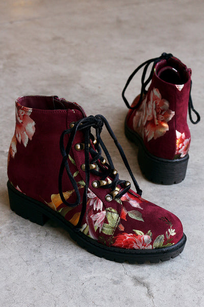 Combat Ankle Boots For Women By Shoe Republic LA | Shop Women's Fashion Lovely Stylish Fashionable Suede Floral Round Toe Silhouette Velvet Lace-Up Combat Ankle Boots