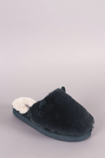 Faux Fur Animal Ear Slip-On Mule Slipper For Women By LUD | Shop Women's Fashion Animal Ear Slip-On Slippers Fuzzy Anti-slip Animal Memory Foam Home Slippers Winter Warm House Slippers Indoor Shoes