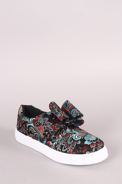 Qupid Floral Brocade Bow Accent Slip-On Sneaker