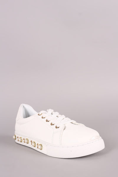 Faux Pearl Sneaker For Women By Qupid | Shop Women's Fashion Lovely Stylish Boots Round Toe Silhouette Top Stitching Faux Pearl Studded Sole Embellished Low Top Sneaker