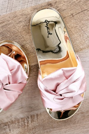 Satin Knotted Slide Sandal For Women By Qupid | Shop Women's Fashion Lovely Stylish Pretty Slide Sandal Satin Knotted Bow Accent Slide Sandal