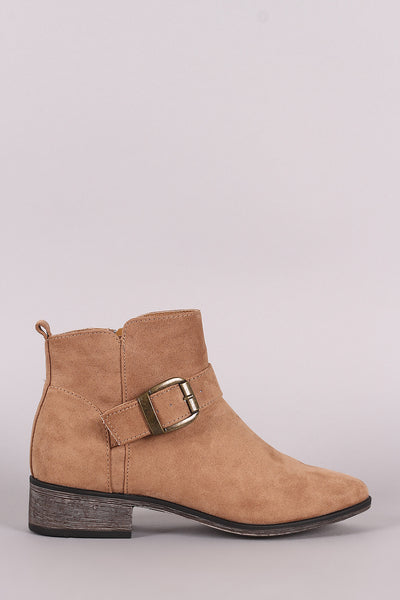 Buckled Strap Ankle Boots For Women By Bamboo | Shop Women's Fashion Suede Buckled Strap Ankle Boots Women's Shoes Faux Suede Buckle Straps Stacked Heel Ankle Boots