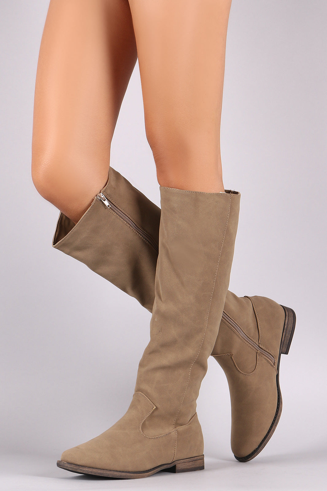 Riding Knee High Boots For Women By Bamboo | Shop Women Comfity Nubuck Plain Riding Knee High Boots A Classic Knee High Boots And Low Block Heel