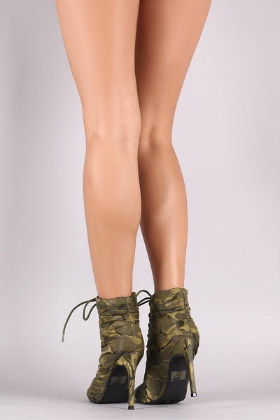 Fabric Booties Lace Up Stiletto Booties For Women By LUD | Shop Women's Fashion Camouflage Quilted Puffer Pointy Toe Silhouette Lace Up Stiletto Booties And Wrapped Stiletto Heel