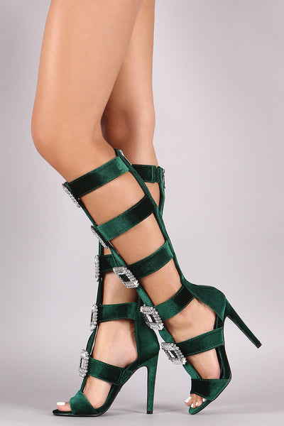 Gladiator Heel For Women By LUD| Shop Women's Fashion Lovely Stylish Fashionable Velvet Caged Crystal Buckle Embellished Gladiator Heel