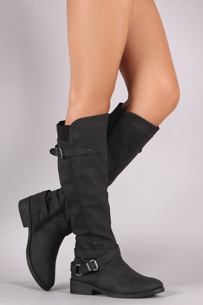 Qupid Distressed Crisscross Buckled Strap Riding Knee High Boots