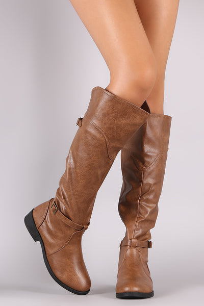 Riding Knee High Boots For Women By Qupid | Shop Women's Fashion Stylish Boots Knee High Boots Round Toe Silhouette Double Buckled Strap Riding Knee High Boots