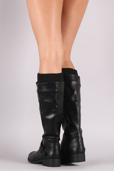 Qupid Sweater Cuff Buckle Riding Knee High Boots