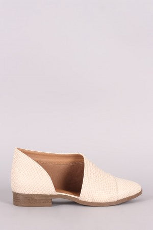 Qupid Snakeskin Open Shank Oxford Flat