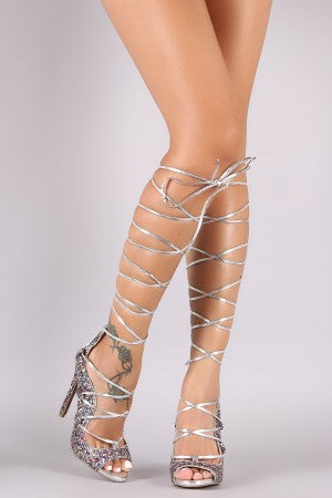 Qupid Glitter-Encrusted Wavy Lace-Up Pump