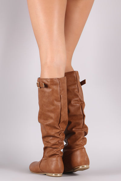Knee High Flat Boots For Women By Bamboo | Shop Women's Fashion Buckle Slouchy Knee Riding High Flat Boots A Rounded Toe Slight Metallic Accent Heel Boots