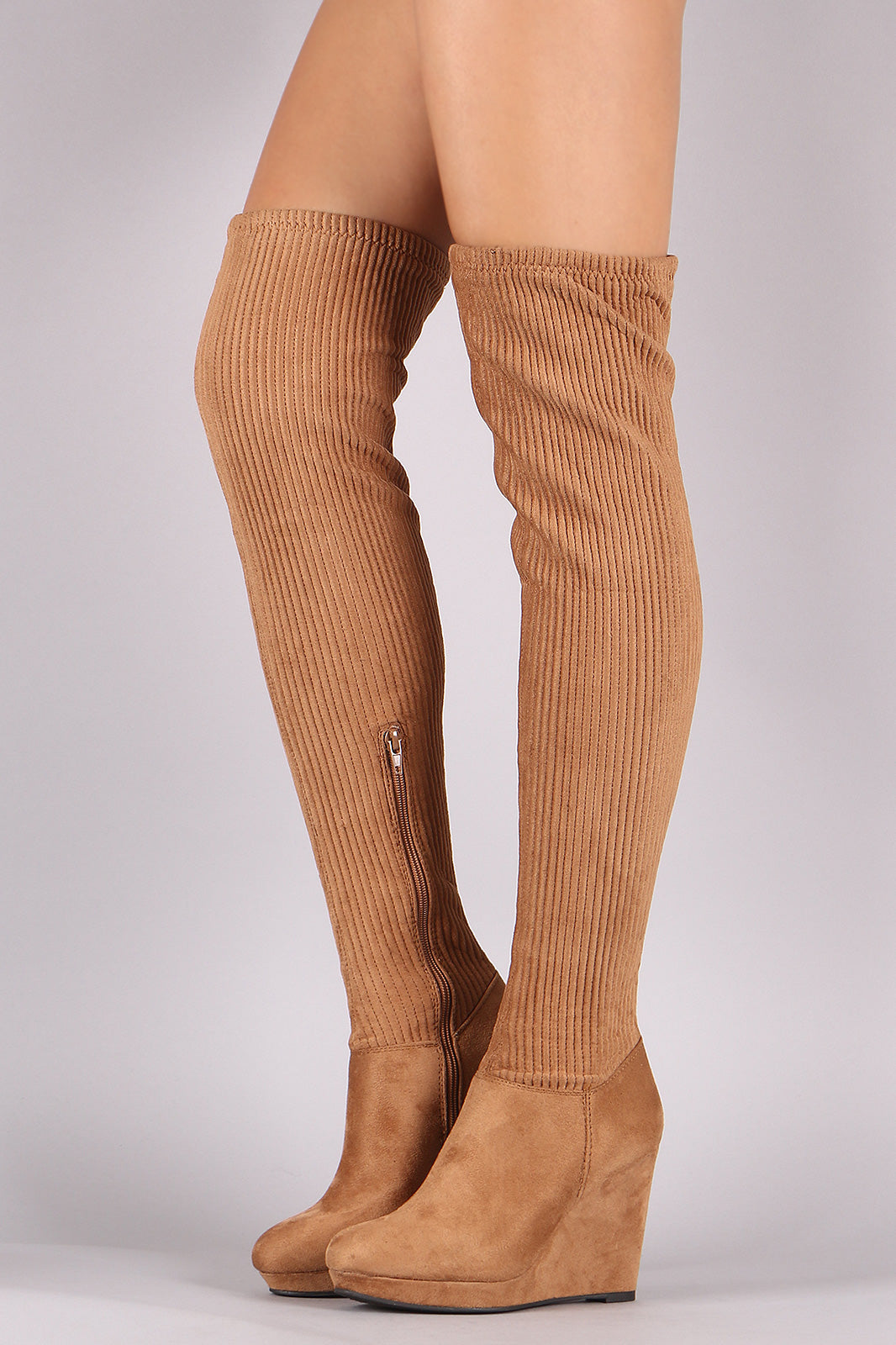 Platform Wedge Boots For Women By Bamboo | Shop Women's Fashion Suede Stitchwork Over-The-Knee Platform Wedge Boots Women's Sandal Thigh High Over The Knee Widge Boots