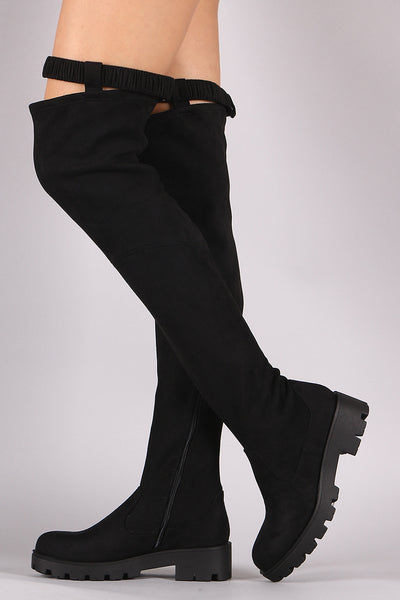 Elastic Strap Over-The-Knee Platform Boots For Women By Bamboo | Shop Women's Fashion Suede Elastic Strap Lug Sole Over-The-Knee Platform Boots A Snap Button Closure And Lug Sole Platform Heel