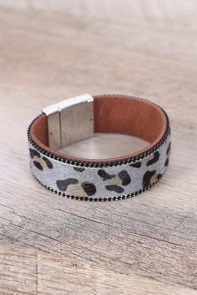 Pony Hair Cuff Bracelet For Women By LUD | Shop Women's Fashion Leopard Faux Pony Hair Cuff Magnetic Snap Closure Bracelet