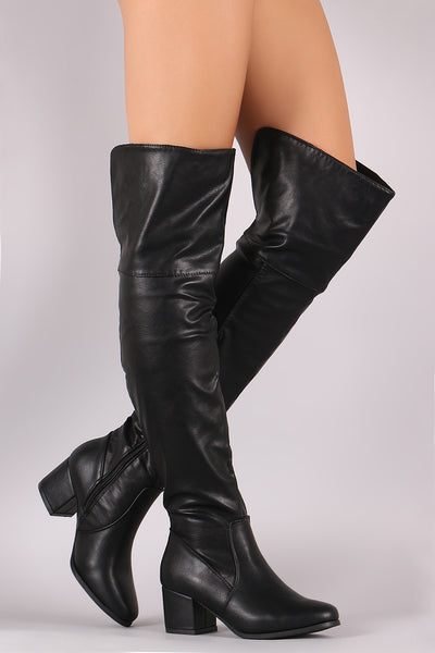 Vegan Leather Block Heel OTK Boots