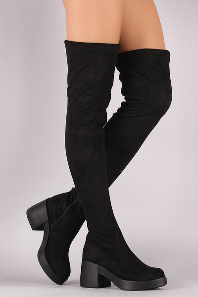 Thigh High Boots For Women By LUD | Shop Women's Fashion Lovely Stylish Fashionable Stretch Suede Almond Toe Side Zipper Chunky Heel Thigh High Boots