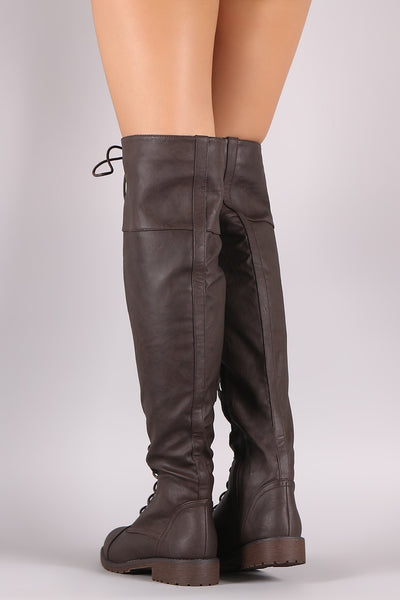 Over Knee Boots For Women By Qupid | Shop Women's Fashion Lovely Stylish Fashionable Bold Over-The-Knee Boots Round Toe Silhouette Lace Up Lug Sole Combat Over-The-Knee Boots