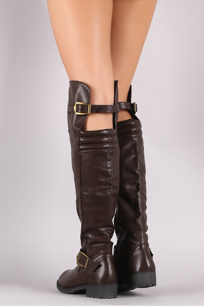 Vegan Leather Boots Riding Boots For Women By LUD | Shop Women's Fashion Round Toe High-Low Silhouette Quilted Buckled High-Low Over-The-Knee Riding Boots