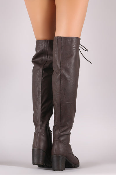 Chunky Heeled Boots For Women By Liliana | Shop Women's Fashion lovely Lug Sole Over-The-Knee Platform Chunky Heeled Boots For Women