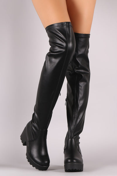 Leather Over-The-Knee Boots For Women By LUD | Shop Women's Fashion Stylish Over-The-Knee Boots Mooth Vegan Leather Round toe silhouette Platform Lug Sole Over-The-Knee Boots