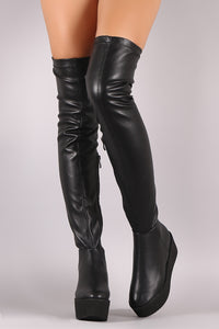 Flatform Vegan Leather Over-The-Knee Boots